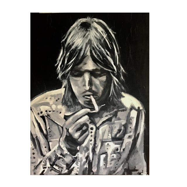 "Contemporary ""Tom Petty the Heartbreaker"" Black & White Painting For Sale - Image 3 of 3"
