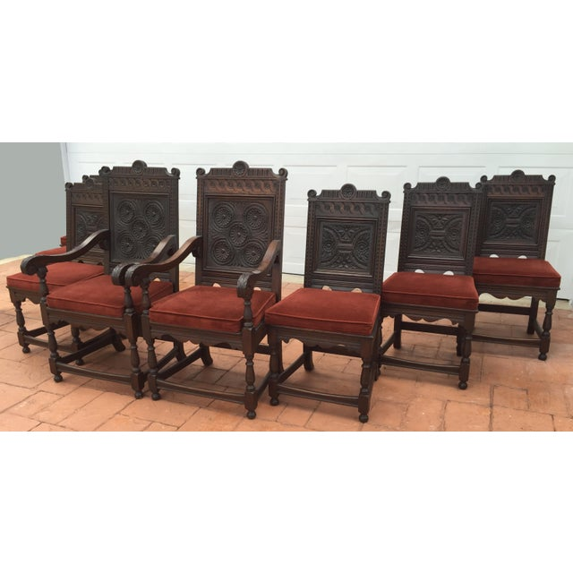 Jacobean Carved Oak Dining Chairs - Set of 8 - Image 3 of 7