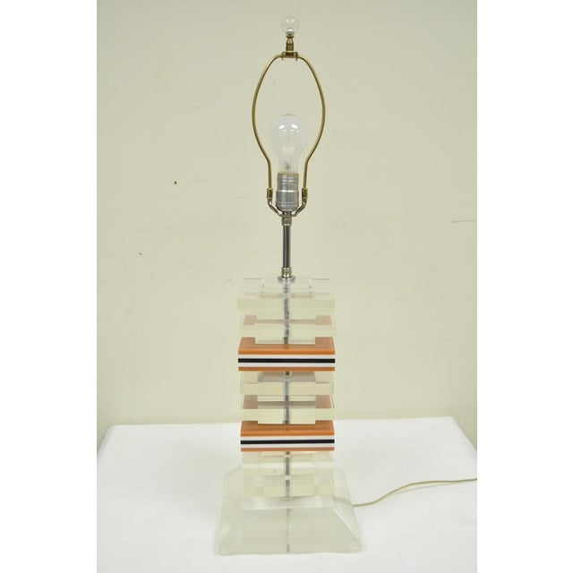 Vintage Mid Century Modern Stacked Lucite Skyscraper Table Lamp Karl Springer For Sale In Philadelphia - Image 6 of 10