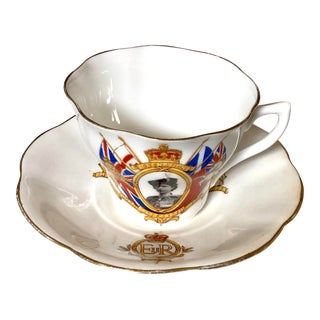 Queen Elizabeth's Coronation Tea Cup and Saucer For Sale