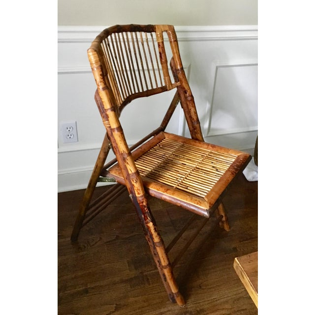 Vintage Tortoise Bamboo Folding Chair For Sale - Image 4 of 9