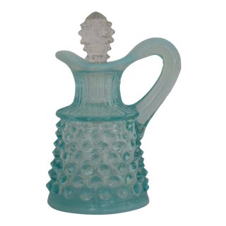 1950s Fenton Aqua Blue Hobnail Opalescent Glass Oil Cruet For Sale