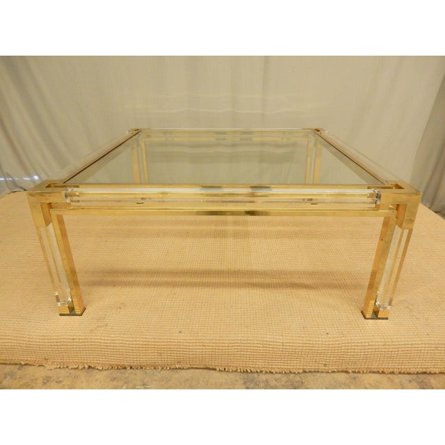 Hollywood Regency Mid-Century Brass, Lucite, and Glass Square Coffee Table For Sale - Image 3 of 8
