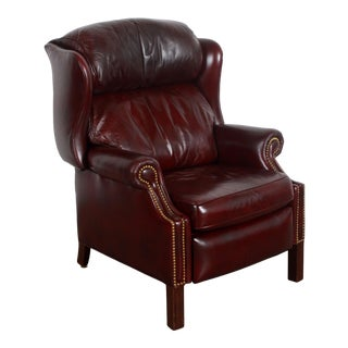 Vintage Hancock & Moore Brown Leather Wing Back Library Recliner Lounge Chair For Sale