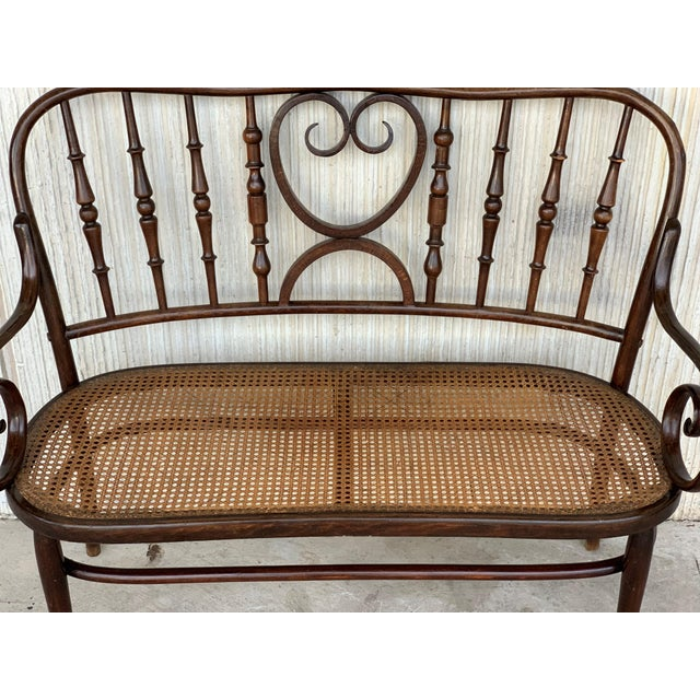 20th Century Bentwood Sofa in the Thonet Style, Circa 1925, Caned Seat For Sale In Miami - Image 6 of 10