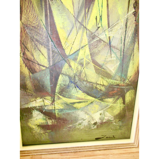 """Expressionism Mid-Century """"Harbor Scene"""" Oil Painting by Jean-Theobald Jacus For Sale - Image 3 of 10"""
