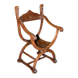 Renaissance Revival Savonarola Chair in Oak For Sale