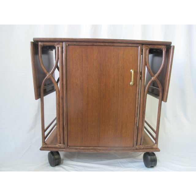 1980s Mid-Century Modern McGuire Wood Dry Bar Rolling Cart For Sale - Image 12 of 12