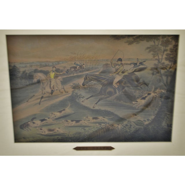 English Traditional Vintage Framed Hunt Scene Lithographs Full Cry and the Death - a Pair For Sale - Image 3 of 13