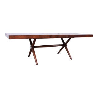 Robsjohn Gibbings for Widdicomb X-Base Walnut Dining Table, Newly Restored For Sale