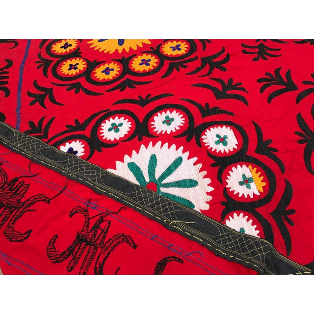 Handmade Red Suzani Textile For Sale - Image 4 of 6