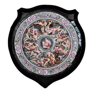 Antique Capo DI Monte Shield in Wooden Frame For Sale