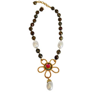 Francoise Montague Pyrite and Glass Pearl Drop Necklace For Sale