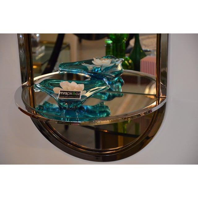 Mid Century Modern Design Institute America Chrome & Brass Mirror with Mirror Console - Image 2 of 11