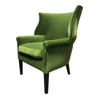 Lee Industries Conroy Green Wingback Chair For Sale