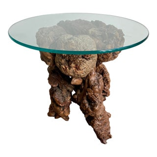1970s Mid-Century Olive Wood Burl Side Table For Sale