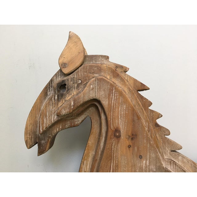 Large Monumental Modernist Sculptural Wood Horse Statue - Image 6 of 6