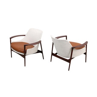 Kofod-Larsen for Selig Sculptural Walnut Lounge Chairs - a Pair For Sale