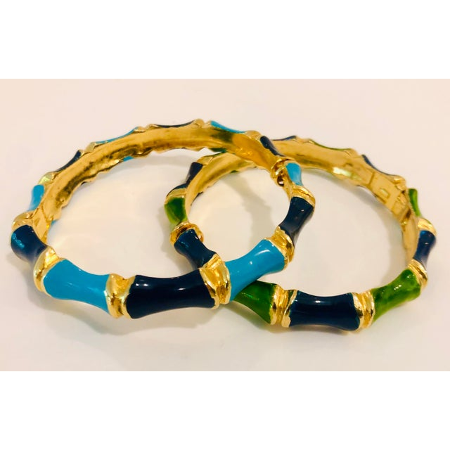 Metal 1980s Bamboo Shaped Enameled Bracelets - a Pair For Sale - Image 7 of 7