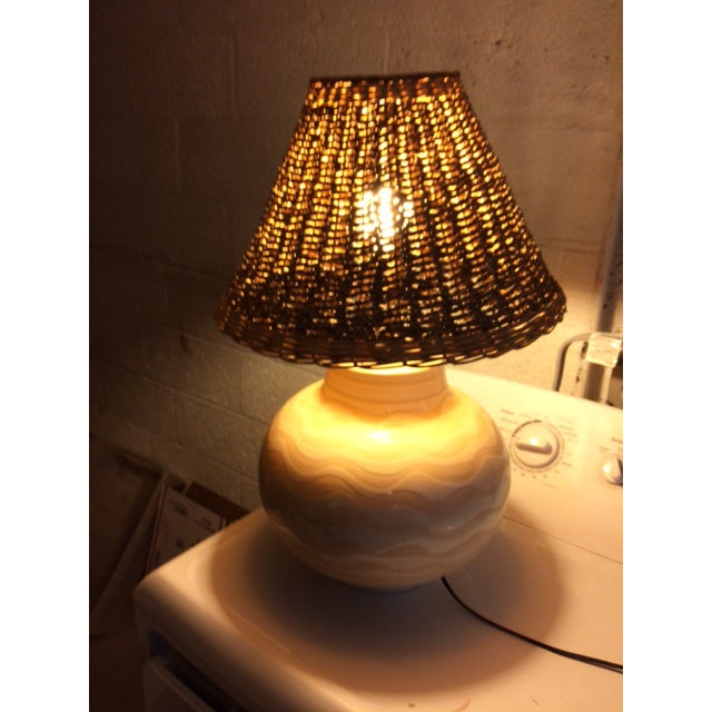 Mid Century Ceramic Striped Table Lamp For Sale - Image 11 of 12
