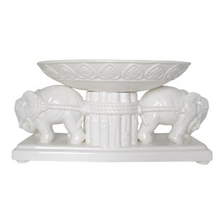 Porcelain White Bamboo-Style Dual Elephant Center Piece Bowl, Urn