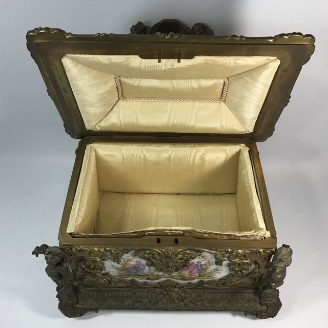Victorian KPM Porcelain & Gilded Bronze Jewelry Box For Sale - Image 10 of 11