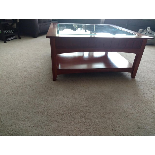 Ethan Allen Beveled Glass Coffee Table - Image 4 of 4