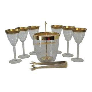 Vintage Mid-Century Gold Bar Set - 9 Pieces For Sale