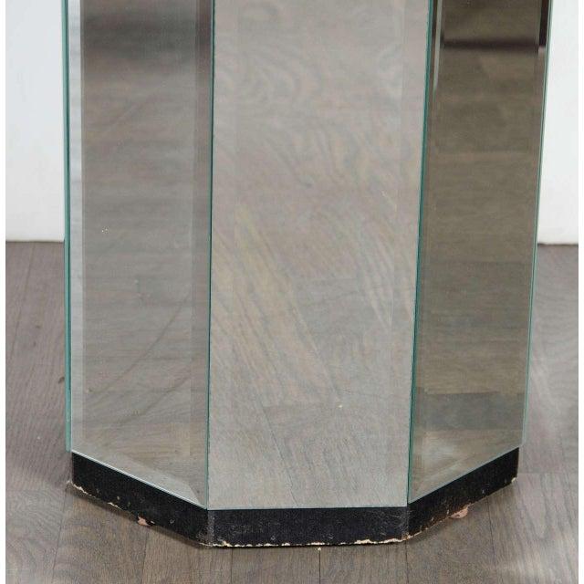 Modern 1970s Vintage Beveled Mirrored Pedestal For Sale - Image 3 of 5