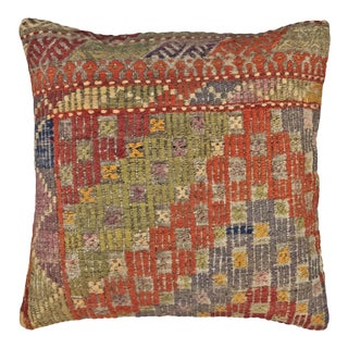"Vivid Vintage Kilim Pillow | 20"" For Sale"