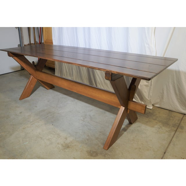 Country Country Handcrafted Cross Leg Trestle Douglas Fir Dining Table For Sale - Image 3 of 9