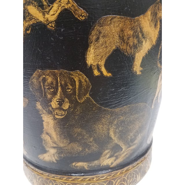 English Antique Bucket / Pail With Decoupage Dogs - Found in Southern England For Sale - Image 9 of 13