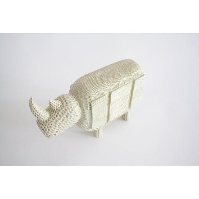 Ceramic Modern Primitive Porcelain Rhino For Sale - Image 7 of 8