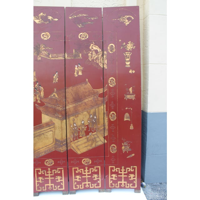 Wood Antique Traditional 8-Panel Red & 24k Gold Asian Screen For Sale - Image 7 of 11