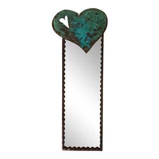 Vintage Artisan Heart Wall Mirror For Sale