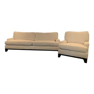 Pottery Barn Seabury Grand Sofa Couch & Chair - A Pair For Sale