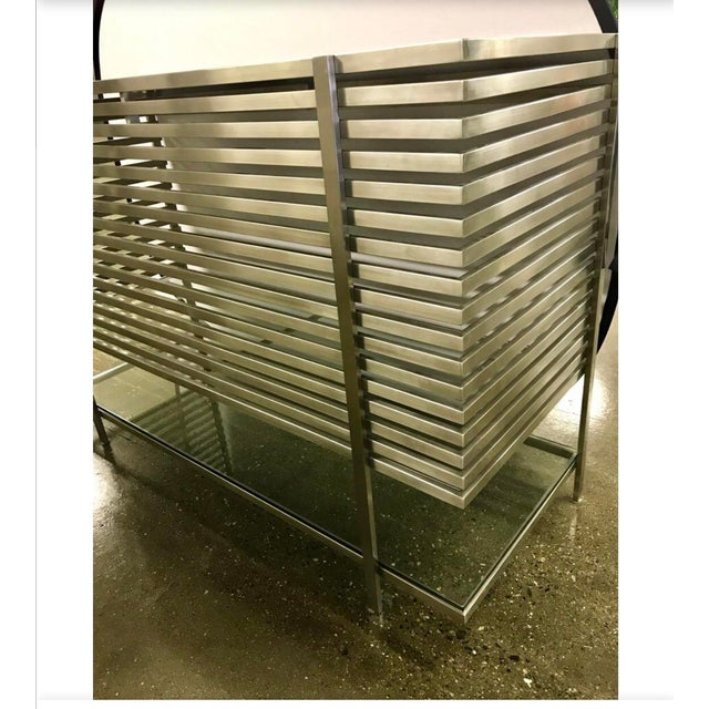 Contemporary Mid-Century Modern Style Laser Cut Steel, Glass and Chrome Dry Bar For Sale - Image 3 of 13