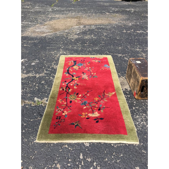 Red Chinese Art Deco Nichols Red and Green Rug - 2′11″ × 4′11″ For Sale - Image 8 of 12