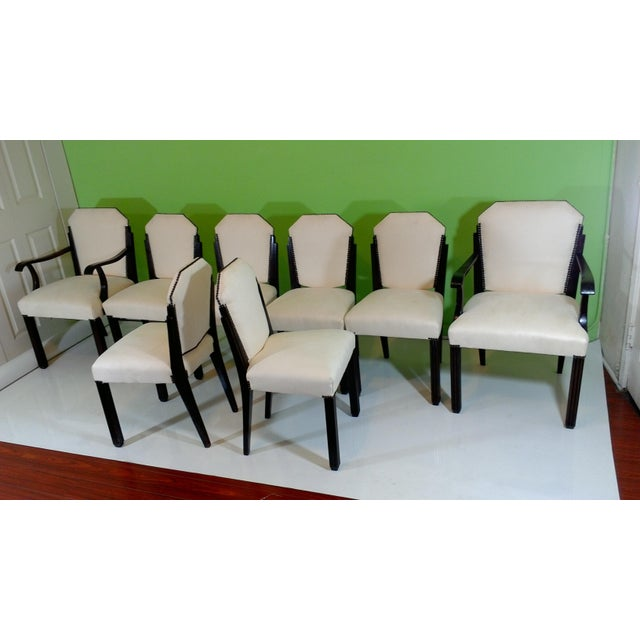 White Suede Deco Dining Chairs - Set of 8 - Image 6 of 11
