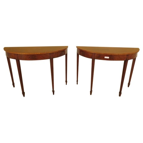 Federal Style Mahogany Demilune Tables - A Pair - Image 1 of 11