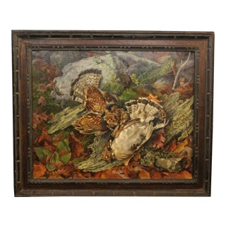 Traditional Hunting Scene With Two Game Birds Signed Buchholz For Sale
