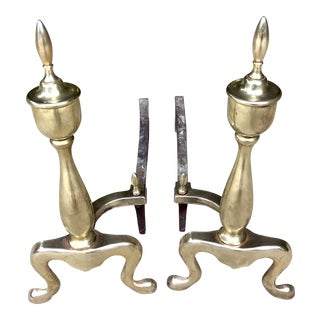 Mid Century Modern Brass Andirons - a Pair For Sale