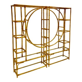 Mid-Century Modern Bamboo Rattan Etageres - a Pair For Sale