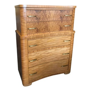 Art Deco Burlwood Highboy Chest of Drawers For Sale