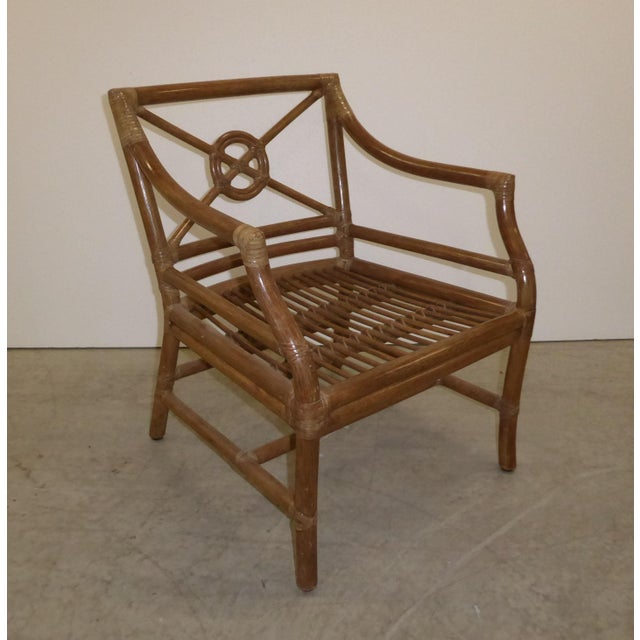 Wood Vintage Mid Century Modern McGuire Tan Stripped Bamboo Rattan Accent Chair For Sale - Image 7 of 12