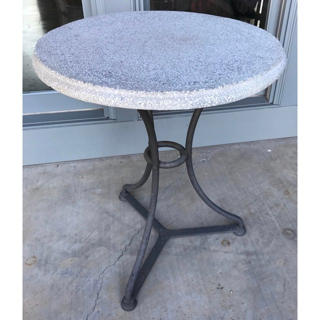 Pair Belgian Iron and Terrazzo Gueridon Bistro Tables, circa 1960 For Sale - Image 6 of 6