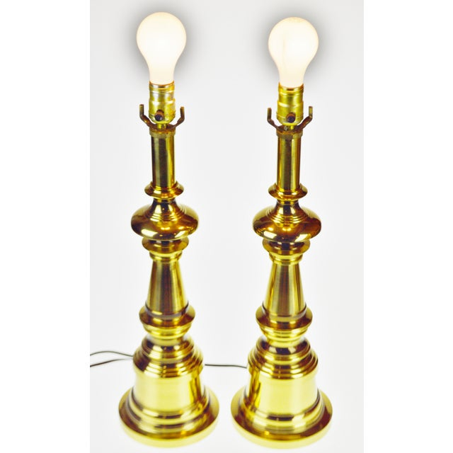 Traditional Vintage Brass Candlestick Table Lamps - a Pair For Sale - Image 3 of 13