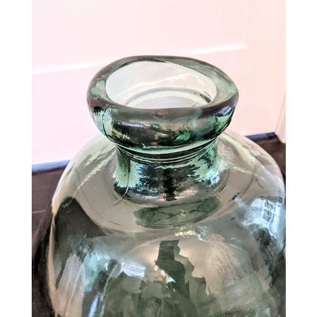 Contemporary Vintage 1990s Oversized Green Glass Demijohn For Sale - Image 3 of 5