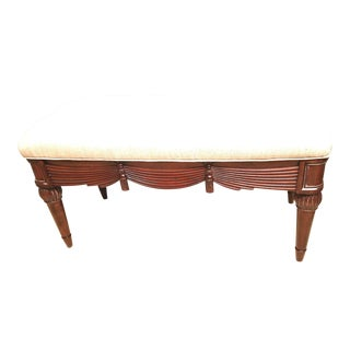 Carved Tassel & Swag Mahogany Bench For Sale