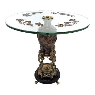 Antique Messenger Phipson 'Oriental' Japanese Bronze, Glass and Gilt Side Table For Sale